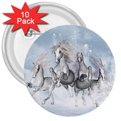 Awesome Running Horses In The Snow 3  Buttons (10 Pack)  by FantasyWorld7