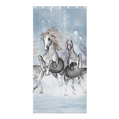 Awesome Running Horses In The Snow Shower Curtain 36  X 72  (stall)  by FantasyWorld7