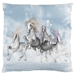 Awesome Running Horses In The Snow Large Flano Cushion Case (two Sides) by FantasyWorld7