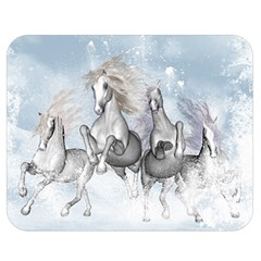 Awesome Running Horses In The Snow Double Sided Flano Blanket (medium)  by FantasyWorld7