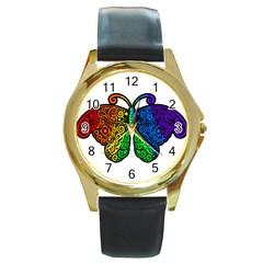 Rainbow Butterfly  Round Gold Metal Watch by Valentinaart