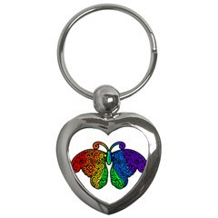 Rainbow Butterfly  Key Chains (heart)  by Valentinaart