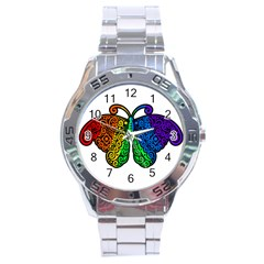 Rainbow Butterfly  Stainless Steel Analogue Watch by Valentinaart