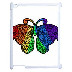 Rainbow Butterfly  Apple Ipad 2 Case (white) by Valentinaart