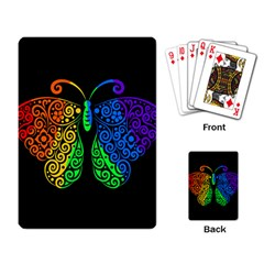 Rainbow Butterfly  Playing Card by Valentinaart