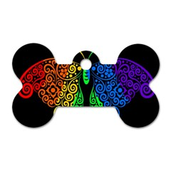 Rainbow Butterfly  Dog Tag Bone (one Side) by Valentinaart