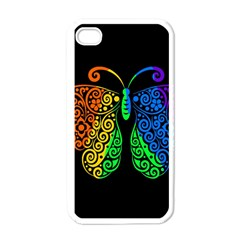 Rainbow Butterfly  Apple Iphone 4 Case (white) by Valentinaart