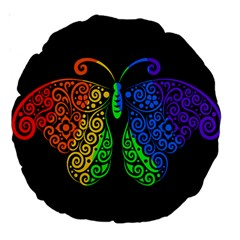 Rainbow Butterfly  Large 18  Premium Round Cushions by Valentinaart