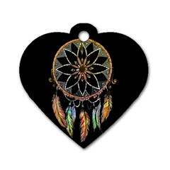 Dreamcatcher  Dog Tag Heart (two Sides) by Valentinaart