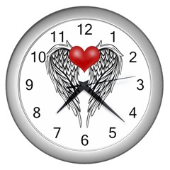 Angel Heart Tattoo Wall Clocks (silver)  by Valentinaart