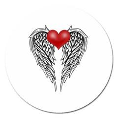 Angel Heart Tattoo Magnet 5  (round) by Valentinaart