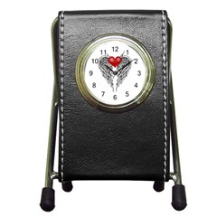 Angel Heart Tattoo Pen Holder Desk Clocks by Valentinaart