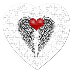 Angel Heart Tattoo Jigsaw Puzzle (heart) by Valentinaart