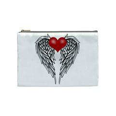 Angel Heart Tattoo Cosmetic Bag (medium)  by Valentinaart