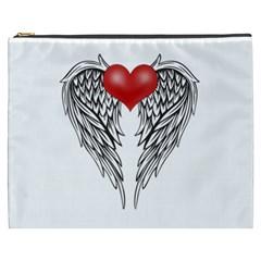 Angel Heart Tattoo Cosmetic Bag (xxxl)  by Valentinaart