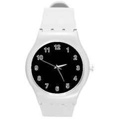 Black Round Plastic Sport Watch (m) by theunrulyartist