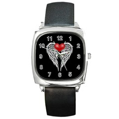 Angel Heart Tattoo Square Metal Watch by Valentinaart