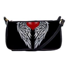 Angel Heart Tattoo Shoulder Clutch Bags by Valentinaart
