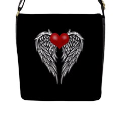 Angel Heart Tattoo Flap Messenger Bag (l)  by Valentinaart