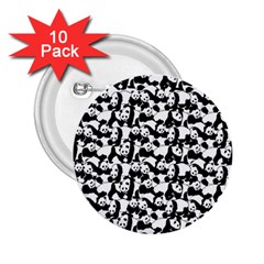Panda Pattern 2 25  Buttons (10 Pack)  by Valentinaart