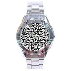 Panda Pattern Stainless Steel Analogue Watch by Valentinaart