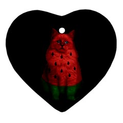 Watermelon Cat Ornament (heart) by Valentinaart