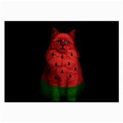 Watermelon Cat Large Glasses Cloth (2 Side) by Valentinaart