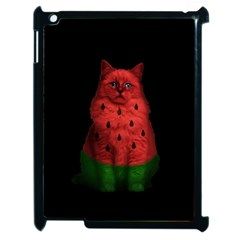 Watermelon Cat Apple Ipad 2 Case (black) by Valentinaart