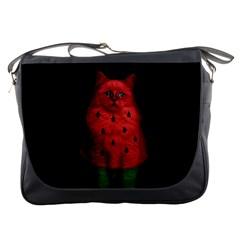 Watermelon Cat Messenger Bags by Valentinaart
