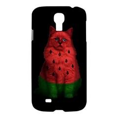 Watermelon Cat Samsung Galaxy S4 I9500/i9505 Hardshell Case by Valentinaart