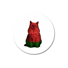 Watermelon Cat Magnet 3  (round) by Valentinaart