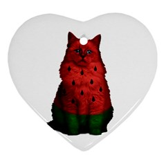 Watermelon Cat Heart Ornament (two Sides) by Valentinaart