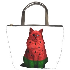 Watermelon Cat Bucket Bags by Valentinaart