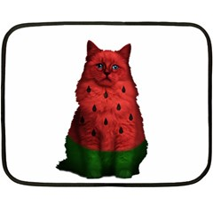 Watermelon Cat Double Sided Fleece Blanket (mini)  by Valentinaart