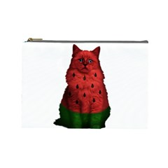 Watermelon Cat Cosmetic Bag (large)  by Valentinaart