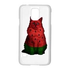 Watermelon Cat Samsung Galaxy S5 Case (white) by Valentinaart