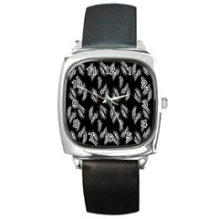 Feather Pattern Square Metal Watch by Valentinaart