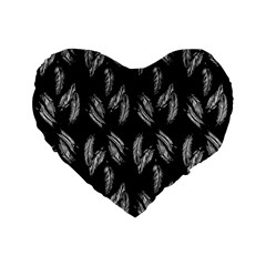 Feather Pattern Standard 16  Premium Flano Heart Shape Cushions by Valentinaart