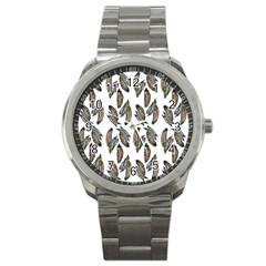 Feather Pattern Sport Metal Watch by Valentinaart