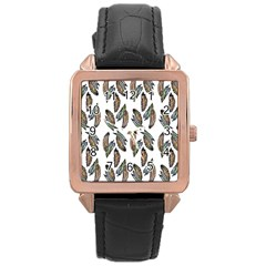 Feather Pattern Rose Gold Leather Watch  by Valentinaart