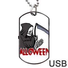 Death   Halloween Dog Tag Usb Flash (two Sides) by Valentinaart