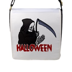 Death   Halloween Flap Messenger Bag (l)  by Valentinaart