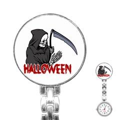 Death   Halloween Stainless Steel Nurses Watch by Valentinaart