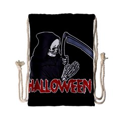 Death   Halloween Drawstring Bag (small) by Valentinaart