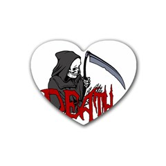 Death   Halloween Heart Coaster (4 Pack)  by Valentinaart