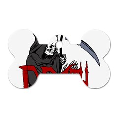 Death   Halloween Dog Tag Bone (one Side) by Valentinaart