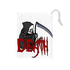 Death   Halloween Drawstring Pouches (medium)  by Valentinaart