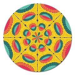 Textured Tropical Mandala Magnet 5  (round) by linceazul