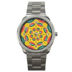 Textured Tropical Mandala Sport Metal Watch by linceazul