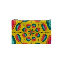 Textured Tropical Mandala Cosmetic Bag (small)  by linceazul
